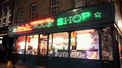 Soho Original Book shop in London red light district Stock Footage