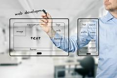 Website and mobile app development Stock Photos