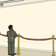 man at blank wall and stanchion - stock illustration