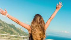 Young Woman Ecstatic Joy Happiness Spinning Jumping Joy Vacation Getaway Beauty Stock Footage