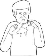 outline of mess on shirt - stock illustration