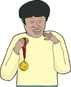 smiling asian man with medal - stock illustration