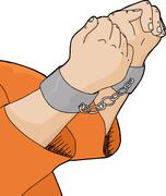 cuffed hands and orange shirt - stock illustration