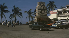 Acapulco 1975: car park in fronto the Ocean Stock Footage