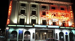 St Martins Theatre in London playing Agatha Christie The Mousetrap Stock Footage