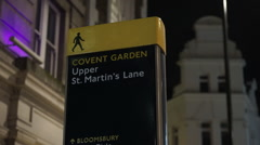 Sign Covent Garden upper St Martins Lane Stock Footage