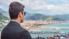 Young Businessman Success Manager Boss Looking Shipping Cargo Port Shipping Stock Footage
