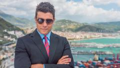 Success Successful Young Businessman Standing Skyline Port Shipping Manager Stock Footage