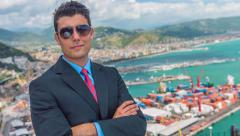 Handsome Young Successful Business Man Looking At Port Shipping Management Stock Footage