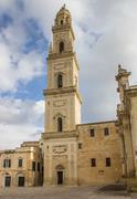belfry of the cathedral in lecce - stock photo