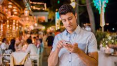 Handsome Young Professional Businessman Tourist Tourism Typing On Smartphone Stock Footage