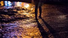 Lonely Woman Legs Walking On Sand Beach Sea Waves Silhouette Abstract Lights Stock Footage