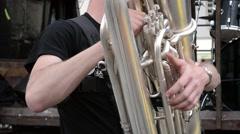 Artist Performing on Tuba Stock Footage