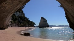 Cathedral Cove New Zealand - stock footage