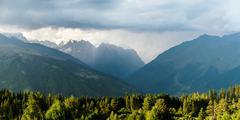 Caucasus mountains nature in Georgia, Svaneti, Mestia - stock photo