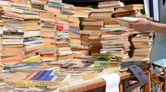 Book Stacks for Sale Stock Footage