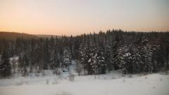 Siberian winter forest, taiga, travelling by train. Trans-Siberian Stock Footage