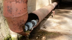 Broken Rusty Water Pipe Stock Footage