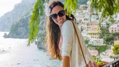 Carefree Happy Joyful Beautiful Woman Enjoying Vacation Tropical Location Beach Stock Footage