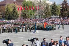 Russian military orchestra march at the parade on annual victory day Stock Photos