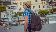 Handsome Young Man Tourist Enjoying Travel City Town Europe Beach Adventure Stock Footage