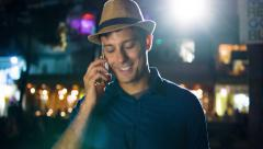Confident Young Smiling Successful Man Talking On Phone Urban City Downtown Stock Footage