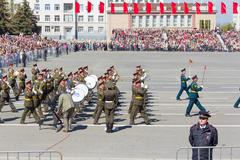 russian military orchestra march at the parade on annual victory day - stock photo