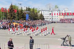 russian military women orchestra march at the parade on annual victory day - stock photo