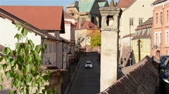 Chimney and Medieval Paved Street Stock Footage