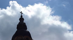 Church Cross Towards Sky Time Lapse - stock footage