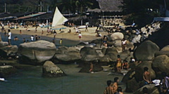 Acapulco 1975: people on the beach Stock Footage