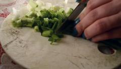 Cutting Green Fresh Onion Stock Footage