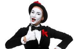 Portrait of the surprised and joyful mime Stock Photos