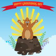 Happy groundhog day Stock Illustration