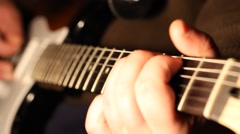 Fingers Play on Electric Guitar Stock Footage