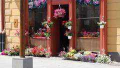 Flower Shop at Street Stock Footage