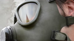 Gas Mask Glass Reflections Stock Footage