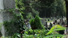 Graves in Cemetery View Stock Footage