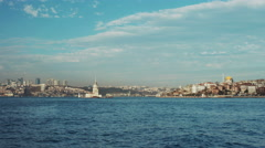 4k slow motion shot of a boat going on full speed on Bosphorus - stock footage