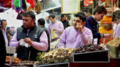 SWEET SELLER & SPICE BAZAAR EMINONU ISTANBUL TURKEY Stock Footage