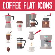Stock Illustration of Coffee vector icons In flat design style for menu, booklet, website etc.