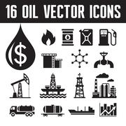 16 oil industry vector icons for infographic, presentation etc. Stock Illustration