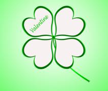 Four leaf clover in green made of hearts Stock Illustration