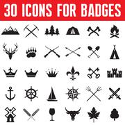 30 vector icons for badges and design works. Stock Illustration