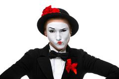 Portrait of the doubting mime - stock photo