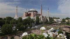 WHITE FLOWERS & HAGHIA SOPHIA MOSQUE SULTANAHMET ISTANBUL TURKEY Stock Footage