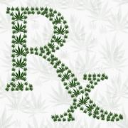 Green and white prescription symbol made from marijuana leaves pattern repeat Stock Illustration