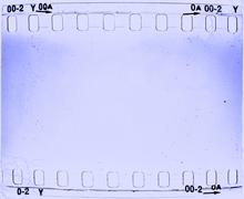 Grunge blue film frame - stock illustration
