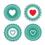 Heart shape label design Stock Illustration