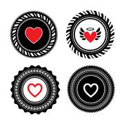Stock Illustration of heart shape label design